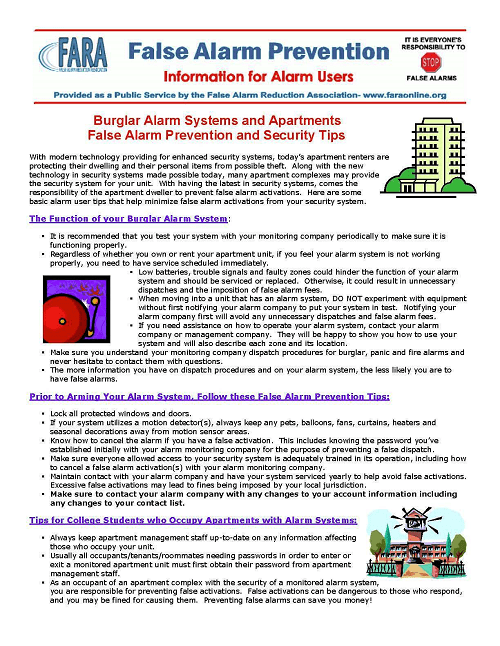 Alarms Systems & Apartments Bulletin